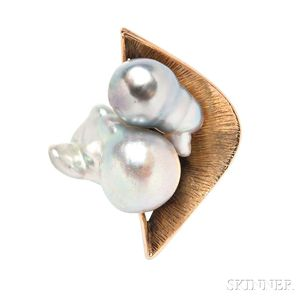 14kt Gold and Baroque Pearl Ring, Margaret De Patta