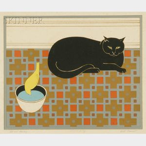 Will Barnet (American, b. 1911)      Cat and Canary