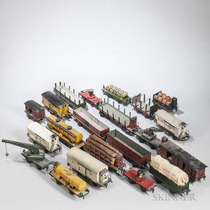 Twenty Marklin Pre-war Train Cars