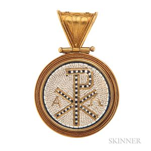 Antique Gold and Micromosaic Chi Rho Pendant