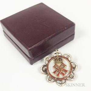 Antique Low-karat Gold, Enamel, and Rose-cut Diamond Pendant/Brooch