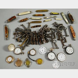 Group of Assorted Penknives, Keys, Pocket Watches and Watch Parts.