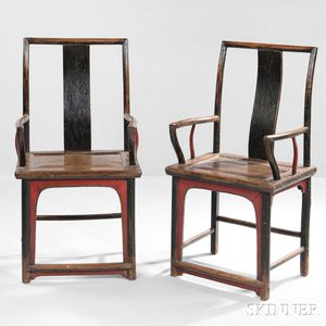 Pair of Wooden Southern Official's Hat Armchairs