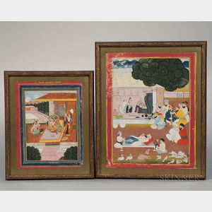 Two Mughal-style Miniature Paintings