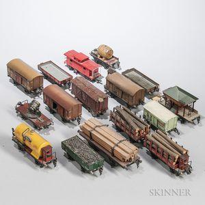 Sixteen Marklin Pre-war Train Cars