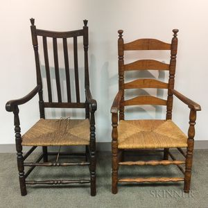 Two Country Turned Wood Armchairs