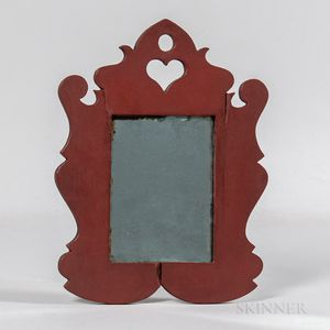 Red-painted Cherry Miniature Scroll-frame Mirror