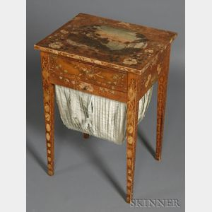 Federal Pine Academy Polychrome and Gilt-decorated Work Table