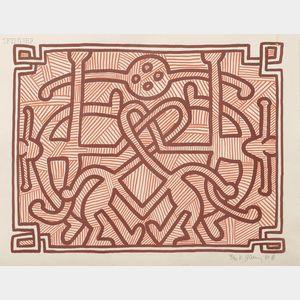 Keith Haring (American, 1958-1990)      Chocolate Buddha 2