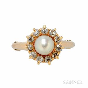 Antique Gold, Pearl, and Diamond Ring