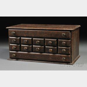 Oak-grained Twelve-drawer Chest