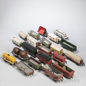 Twenty-one Marklin Pre-war Train Cars