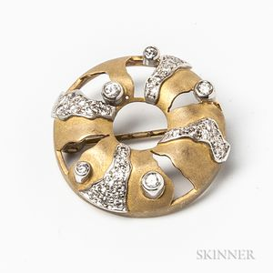 18kt Gold and Diamond Circle Brooch
