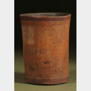 Pre-Columbian Polychrome Incised Pottery Cylinder