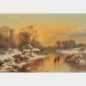 Attributed to Joseph Morviller (American, 1800-1870)      Skaters at Sunset, Medfield