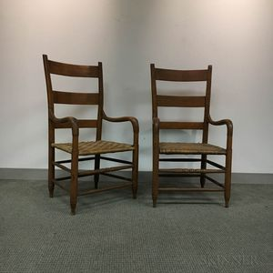 Two Maple Bentwood Slat-back Armchairs