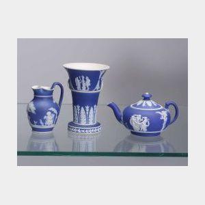 Three Miniature Wedgwood Dark Blue Jasper Dip Items