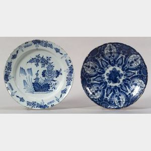 Two Large Blue Floral Decorated Delft Plates