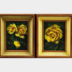 Leslie De Mille (American, b. 1927)      Two Paintings of Yellow Roses