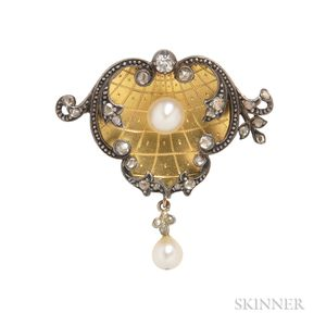Antique Pearl and Diamond Brooch