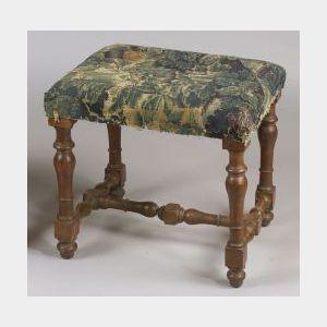 Baroque-style Oak Leather Upholstered Stool