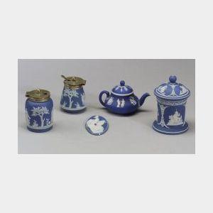 Five Wedgwood Dark Blue Dip Items