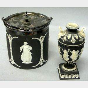 Wedgwood Silver Plate Mounted Black Jasper Dip Biscuit Barrel and a Small Footed Vase.