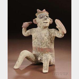 Pre-Columbian Polychrome Pottery Warrior Figure