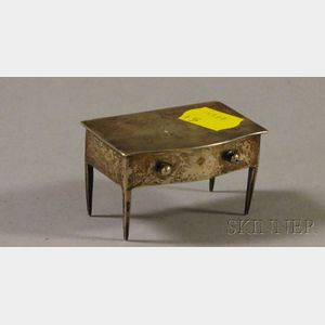 Small English Silver Lift-top Desk Stamp Holder