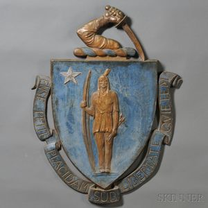 Large Painted Cast Iron Massachusetts State Seal Plaque