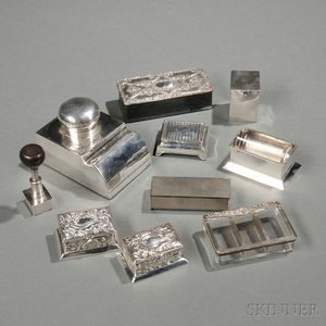 Six English Sterling Silver Stamp Boxes, Applicators, and Dispensers