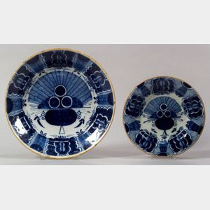 Two Delft Blue Peacock Pattern Plates