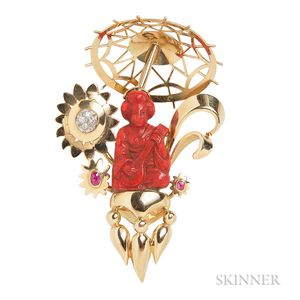 18kt Gold, Carved Cinnabar, and Diamond Brooch
