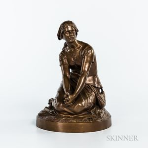 Henri Michel Antoine Chapu (French, 1833-1891)       Barbedienne Bronze Depiction of Joan of Arc