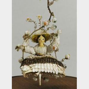 Swinging Grodnertal Shell Doll