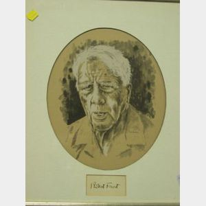 Framed Robert Frost Signature with Portrait Print.