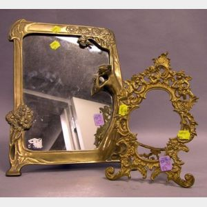 Art Nouveau Style Cast Brass Figural Table Mirror and a Rococo-style Gilt Cast Metal Table Frame.