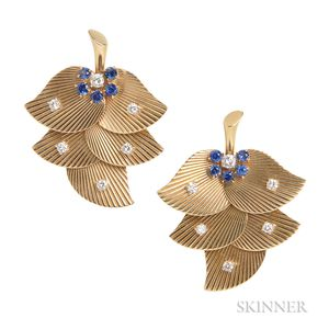 Pair of Retro 14kt Gold, Diamond, and Sapphire Clip Brooches, Raymond Yard