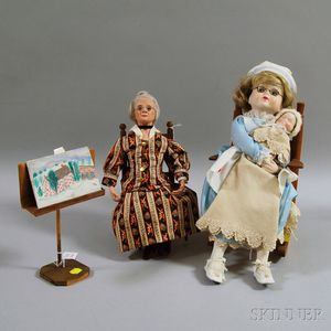 Grandma Moses Doll and Bisque Head Nurse and Baby Dolls