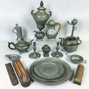 Group of Pewter Tableware and Two Boxes.
