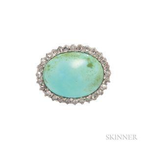 Edwardian Turquoise and Diamond Pin