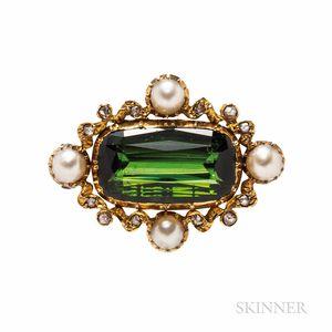 Antique Gold, Tourmaline, Split Pearl, and Diamond Brooch