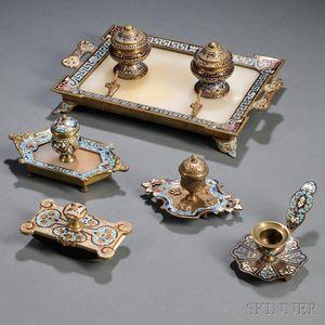 Five Champleve-decorated Desk Accessories