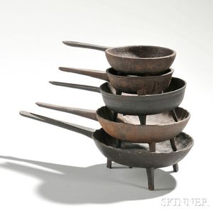 Five Miniature Cast Iron Skillets