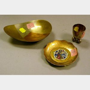 Small Modern Mixed Metal Tray, Silver Plated Footed Cordial, and a Small Woltermans Enameled Copper Dish.