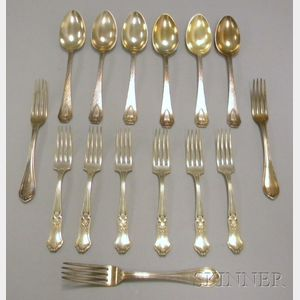 Approximately Fifteen Pieces of Silver and Silver Plated Flatware
