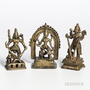 Three Brass Votive Figures of Durga