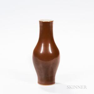 Café-au-lait-glazed Bottle Vase