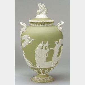 Wedgwood Green Jasper Dip Apotheosis of Homer Vase and Cover