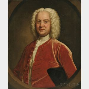 School of John Theodore Heins (British, 1697-1756)    Wigged Gentleman in a Red Velvet Coat in a Feigned Oval